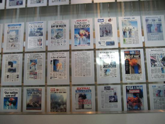Newseum: Front pages reporting on 9/11