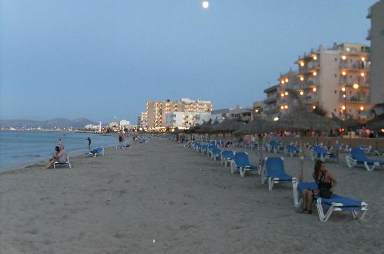Grupotel Montecarlo: Beach front at dusk.