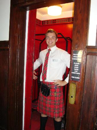 Prince of Wales Hotel: Bell boy and manual elevator