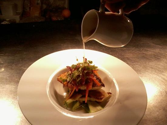 Simply Red: seabass with galangal broth