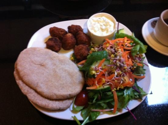 The Whale Tail: falafel tzatziki pitta and salad