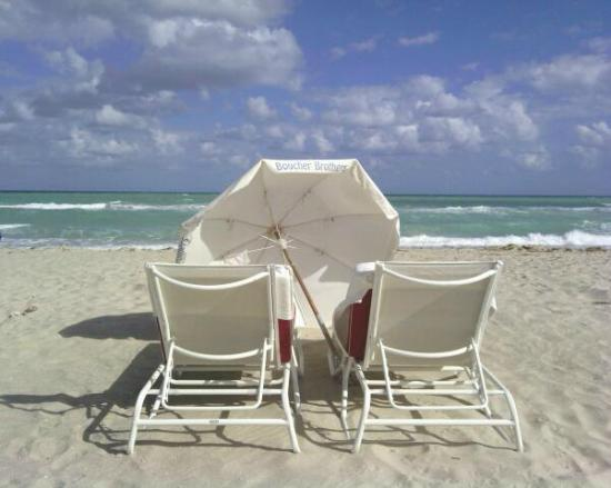 The Betsy - South Beach: umbrella and summer beds included in hotel service