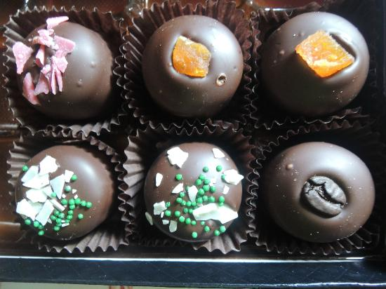 Wine Country Chocolates: (left) raspberry, apricot, mint and mocha