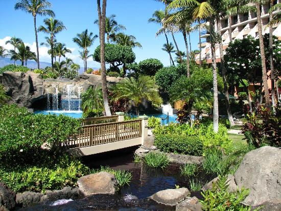 Marriott's Maui Ocean Club - Molokai, Maui & Lanai Towers: The waterfall tunnel and water slide! Both were fun!