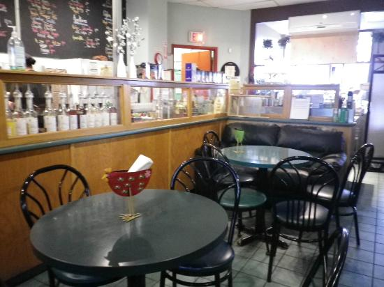 Bean Bank Cafe: Food prep station and seating