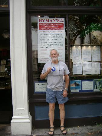 Hyman's Seafood: Will, standing out front, full of Eli Hyman's good food!