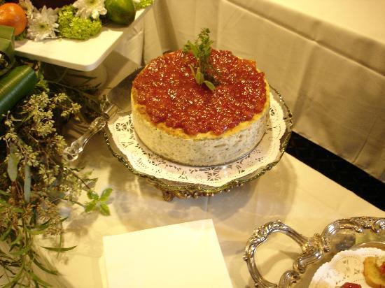 Cameron's Livingroom Dining : Savory Artichoke & Basil Cheese Cake w/ Chardonnay Tomato Preserve