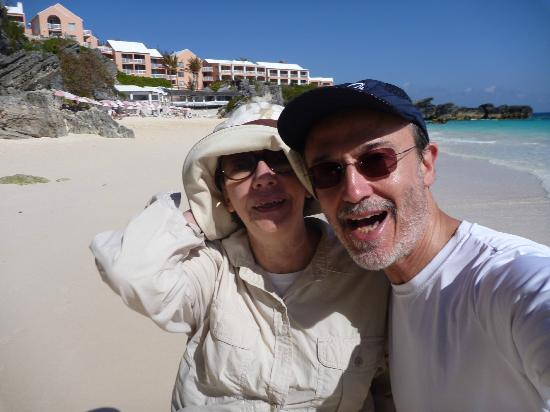 The Reefs: Us on the beach in 2010 - yea! It's a private beach, hotel in background.
