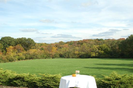 Quaint outdoor seating with a view for wedding reception for Mont airy
