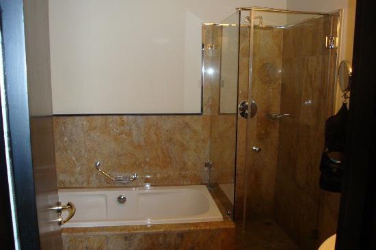 Radisson Blu Hotel, Doha: Badewanne und rechts separate Dusche