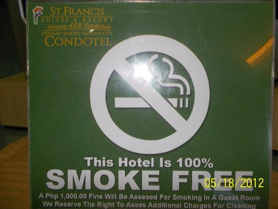 BSA Twin Towers: Property is 100% smoke free/Off limits to smokers