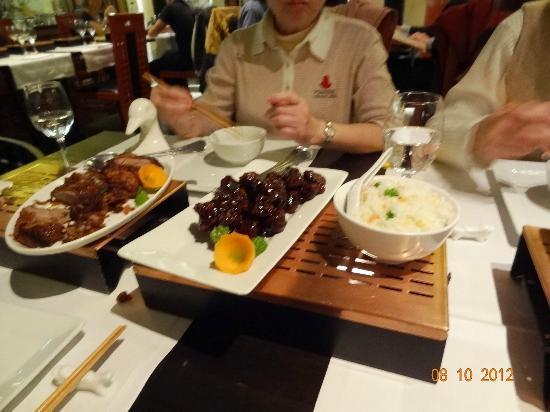 China Garden: Fried duck, Sweet pork, and friend rice