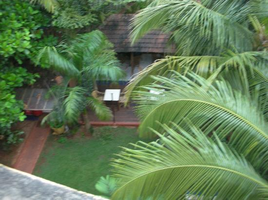 Bougainvillea Guest House Goa: View of the lovely lawn & the dining area from the Penthouse sit-out