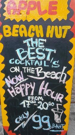 Apples Beach Hut: Happy Hour times