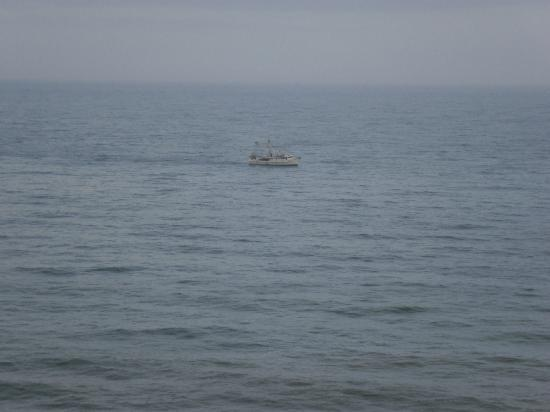 Seaside: Ship passing by