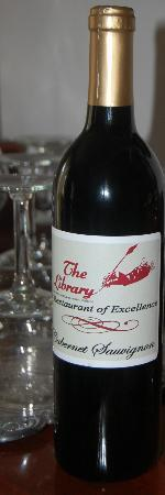 The Library Restaurant: private label wine