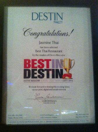 Jasmine Thai Restaurant: Certify the Best in Destin