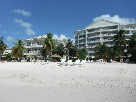 Caribbean Club Luxury Boutique Hotel: View from beach, Villa #11, left building, top floor