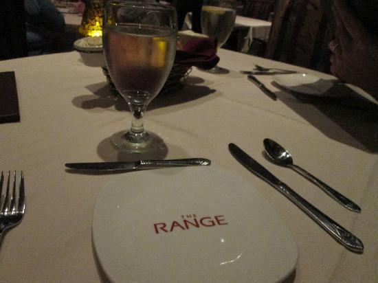 The Range Steakhouse: place setting