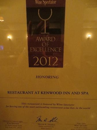 Kenwood Inn and Spa, A Four Sisters Inn: wine bar