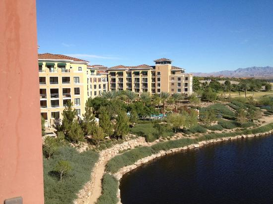 Hilton Lake Las Vegas Resort & Spa : From our balcony room 22524 (looking left at the Poll area and grounds.)