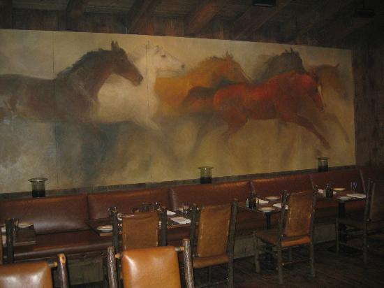 ‪ساندانس ريزورت: Mural on back wall in Foundry Restaurant‬