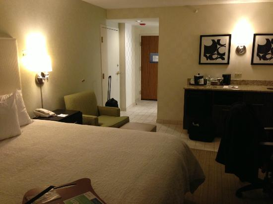 Hampton Inn & Suites Chicago - Downtown: Room view of king bed and wet bar