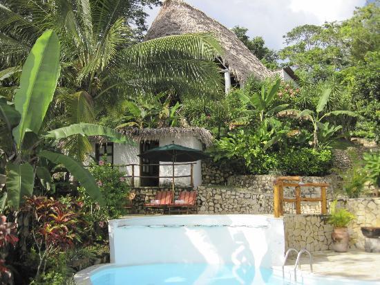 La Lancha Lodge: looking up at restaurant from pool