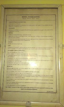 Dasharath Hotel: The rules of the hotel
