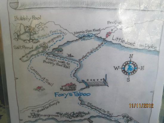 Jost Van Dyke: Map from Foxy's Taboo to Bubbly Pool