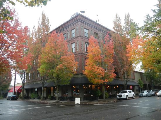 McMenamins Hotel Oregon : Hotel Oregon Flanked by Fall Foliage and Flying Saucer