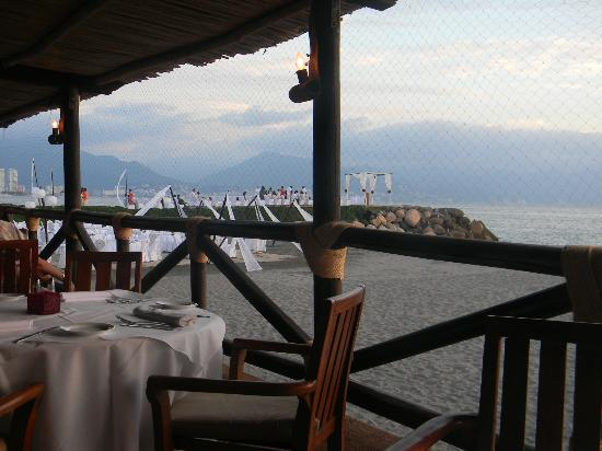 Velas Vallarta: View from the beachfront restaurant looking towards the jetty