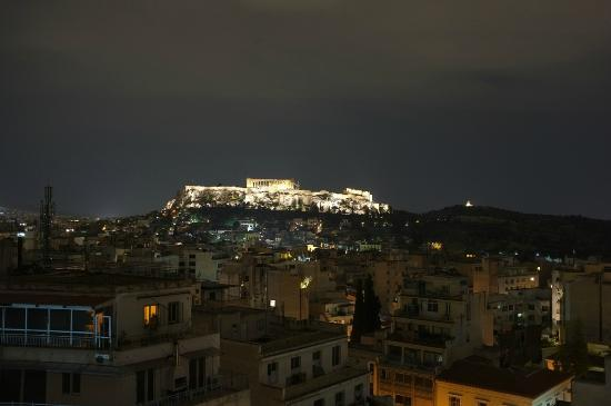 Athens Center Square: View of Acropolis from the hotel rooftop