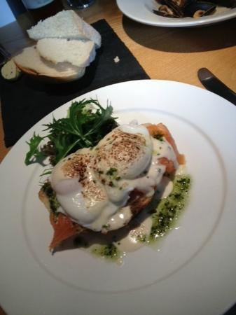 The Square Bar & Restaurant: Smoked salmon and egg open sandwich and curly fries