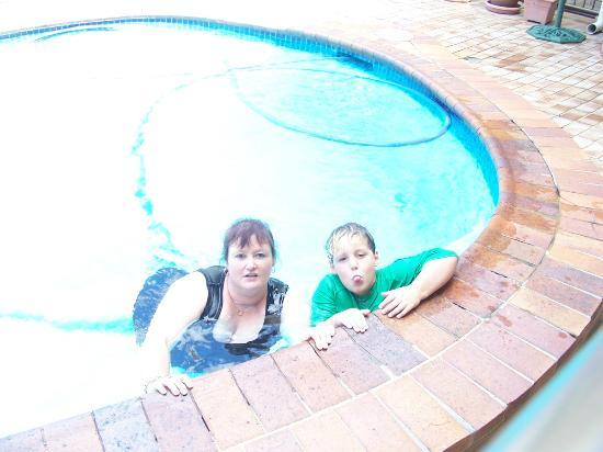 Chermside Motor Inn: My son and I in the pool