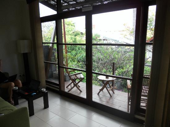 The Studio Bali: The small but functional balcony