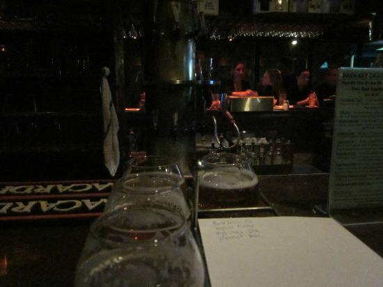 Vermont Pub and Brewery: View of a sample flight and the interesting tap system