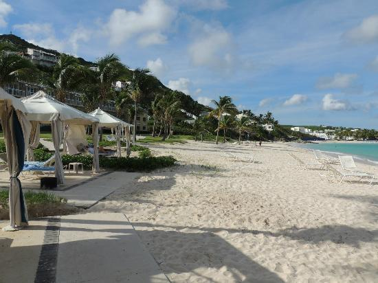The Westin Dawn Beach Resort & Spa, St. Maarten: looking down the beach past the cabanas