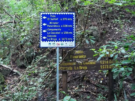 Cinquera Rain Forest Park: Sign with distances and altitudes