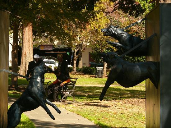 Kelly Ingram Park: Sculptures line the walking path, including this dramatic one of police dogs.