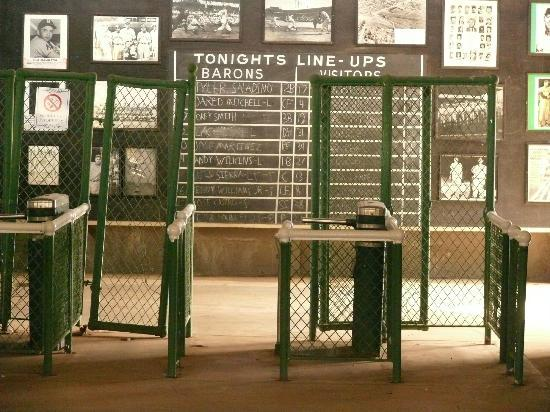 Rickwood Field Park: Lobby of Rickwood includes this handwritten lineup board.