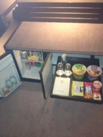 Prince (Marco Polo Hotels): well stocked mini bar and snack cupboard.