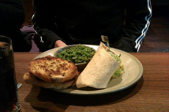 Nando's: beanie burger with macho peas
