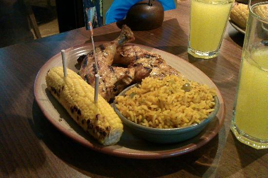 Nando's: double leg with spicy rice and corn