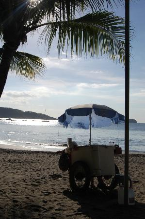 View of the beach and sno-cone cart