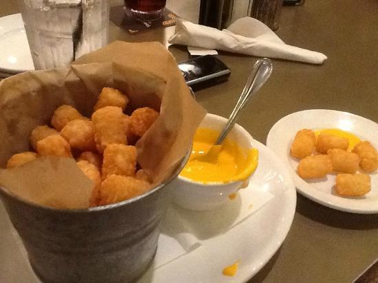Timothy O'Toole's Pub Gurnee: A bucket of tater tots with cheese sauce!!! Yikes!!!