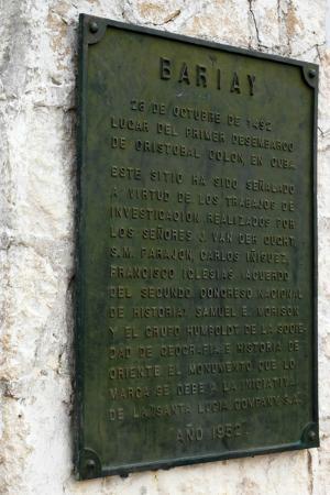 Parque Monumento Nacional Bariay: Playa Blanca Columbus plaque.