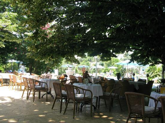 Hotel Rivijera : Столики ресторана на улице, под раскидистыми кронами