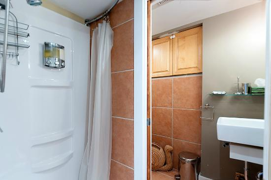Commercial Drive Accommodations: Domain Apartment bathroom