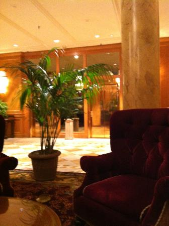 The Saint Paul Hotel: View of part of the lobby and the elevators